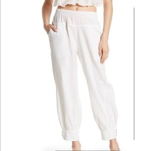 New Free People Check It Woven Button Cuff Pants